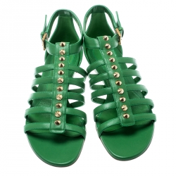 Alexander McQueen Green Leather Spike Detail Flat Gladiator Sandals Size 39