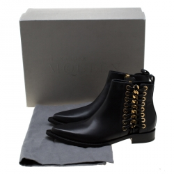 Alexander McQueen Black Leather Biker Eyelet Detail Ankle Boots Size 38