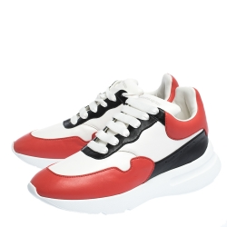 Alexander McQueen Red/White Leather Larry Low Top Sneakers Size 43