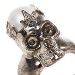 Alexander McQueen Pearl Skull Ring Size 50.5