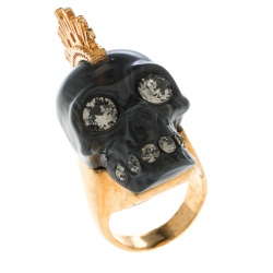 Alexander McQueen Grey Skull Plexi Punk Gold Tone Cocktail Ring Size 53