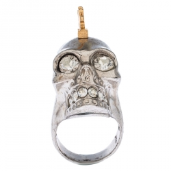 Alexander McQueen Crystal Skull Punk Two Tone Cocktail Ring Size 54