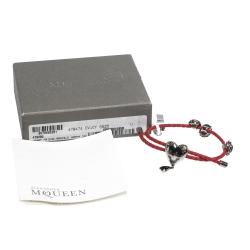 Alexander McQueen Heart Charm Friendship Crystal Red Braided Leather Adjustable Bracelet