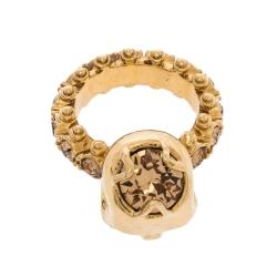 Alexander McQueen Skull Crystal Embedded Gold Tone Ring Size 51