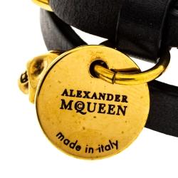 Alexander McQueen Black Leather Skull Charm Double Wrap Bracelet
