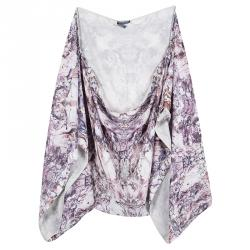 Alexander McQueen Multicolor Printed Silk Oversized Draped Shrug (Free Size)