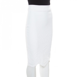 Alexander McQueen White Stretch Knit Floral Embossed Scalloped Hem Pencil Skirt S