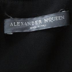 Alexander McQueen Black Crepe Ruffled Open Back Sleeveless Dress S