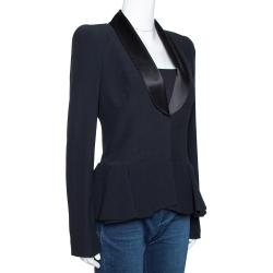 Alexander McQueen Black Crepe Peplum Jacket M