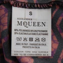 Alexander McQueen Black & Red Printed Knit Cropped Leggings S