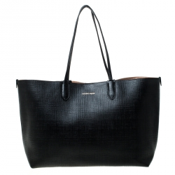 Alexander McQueen Black Leather Large Shopper Tote