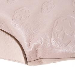 Alexander McQueen Blush Pink Leather Medium Skull De Manta Clutch