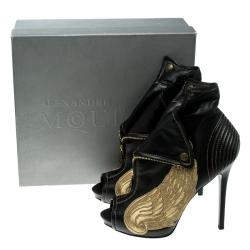 Alexander McQueen Black Leather Faithful Skull Peep Toe Ankle Boots Size 40