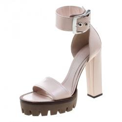 Alexander McQueen Blush Pink Leather Ankle Strap Platform Sandals Size 39