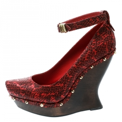 ff5cc1ddfe0c Alexander McQueen Red Embossed Snakeskin Leather Ankle Strap Spike Studded  Wedge Pumps Size 39