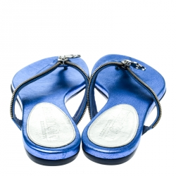 Alexander McQueen Blue Leather Zip Embellished Thong Sandals Size 37