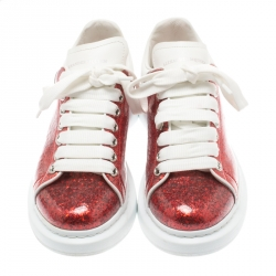 Alexander McQueen Red Glitter Platform Lace Up Sneakers Size 37