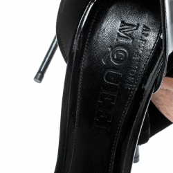 Alexander McQueen Black Patent Leather And Suede Ankle Tie Open Toe Sandals Size 40