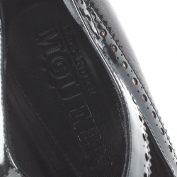 Alexander McQueen Black Leather Brogue Trim Cut Out Peep Toe Pumps Size 40