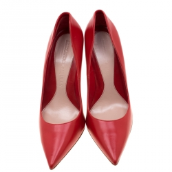 Alexander McQueen Red Leather Pointed Toe Pumps Size 41