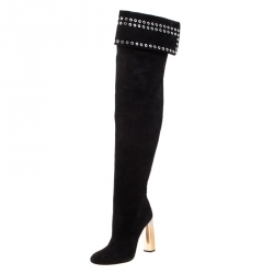 Alexander McQueen Black Suede Eyelet Detail Knee Length Boots Size 39