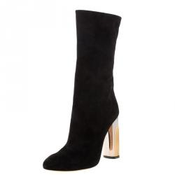Alexander McQueen Black Suede Mid Calf Boots Size 36