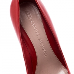 Alexander McQueen Red Leather Pointed Toe Pumps Size 36