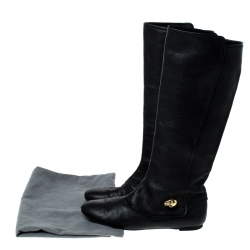 Alexander McQueen Black Leather Skull Charm Knee Length Boots Size 40