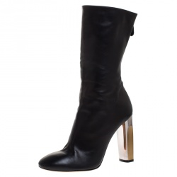 Alexander McQueen Black Leather Sculpted Heel Mid Calf Boots Size 41