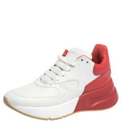 Alexander McQueen White/Red Leather Platform Sneakers Size 39