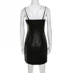 Alexander Wang Metallic Black Cotton Blend Tweed Chain Strap Detail Mini Dress S