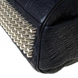 Alexander Wang Navy Blue Textured Leather Rocco Duffel Bag