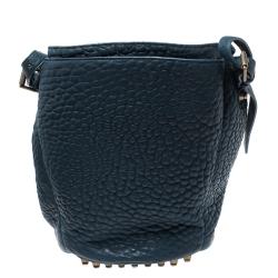 Alexander Wang Blue Textured Leather Diego Bucket Bag