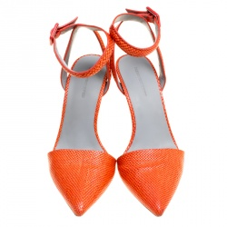 Alexander Wang Orange Snake Embossed Leather Lovisa Pointed Toe Ankle Strap Sandals Size 37