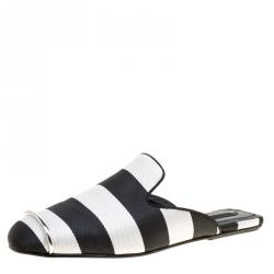 73fca0c3d0f9 Alexander Wang Black Silver Cotton Blend Jaelle Flat Slide Mules Size 39