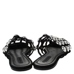 Alexander Wang Black Suede Amelia Studded Flat Slides Size 39