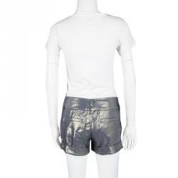 Alice + Olivia Metallic Eric Cuffed Iridescent Shorts S