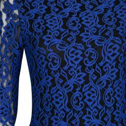 Alice + Olivia Cobalt Blue Lace Long Sleeve Flared Maryanna Maxi Dress S