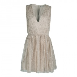 Alice + Olivia Gold Dotted Tulle Gathered Sleeveless Monica Dress M