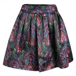 Alice + Olivia Multicolor Printed Satin Pleated Stora Mini Skirt S