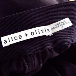 Alice+Olivia Black Sequined Side Stripe Detail Linda Wide Leg Pants M