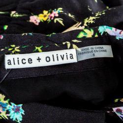 Alice + Olivia Black Floral Print Cold Shoulder Belted Karina Shirt Dress S