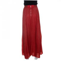Alice + Olivia Metallic Poppy Red Sunburst Pleated Katz Maxi Skirt M