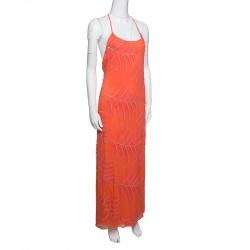 Alice + Olivia Coral Embroidered Silk Chiffon T-Back Kelly Maxi Dress M