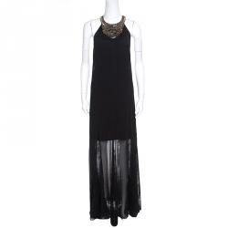 Alice + Olivia Black Chiffon Godet Lace Detail Embellished Lois Maxi Dress M