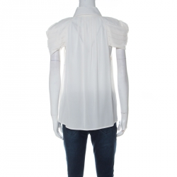 Alice + Olivia White Silk Pleated Sleeves Black Neck Tie Shirt L