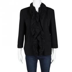 Alice + Olivia Black Wool Ruffle Detail Jacket M