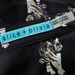 Alice + Olivia Black Tiger Print Sheer Silk Willa Shirt S