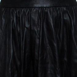 Alice + Olivia Black Leather Mesh Insert Gathered Midi Skirt S