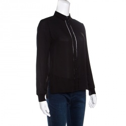 Alice + Olivia Employed Black Silk Ladder Lace Insert Button Front Shirt XS